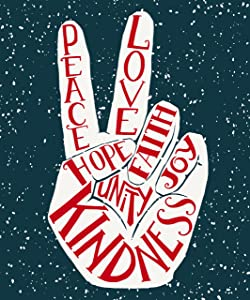 "ShineSnow Two Fingers Garden Yard Flag 28"" x 40"", Peace Love Outdoor Indoor Decorative Double Sided Flags for Spring Summer Farm House Decoration"