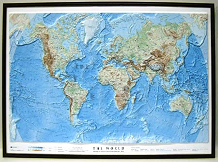 Relief Map Of The World.The Physical World Dark Wood Framed Raised Relief Map Amazon Co
