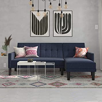 Fantastic Dhp Haven Small Space Sectional Futon Sofa Blue Linen Caraccident5 Cool Chair Designs And Ideas Caraccident5Info
