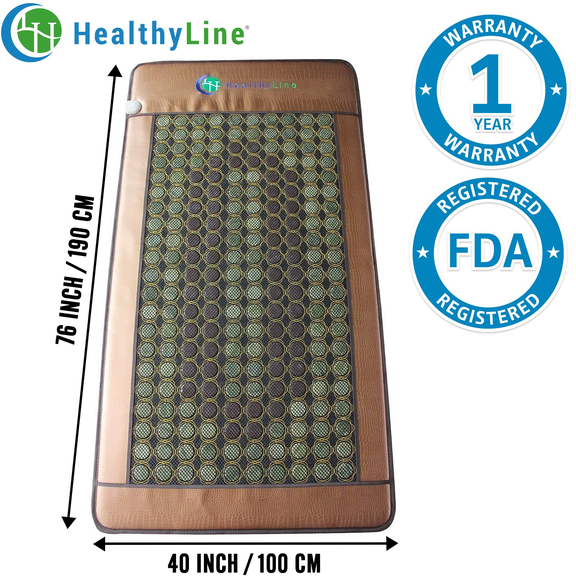 HealthyLine Heating Mat|Natural Jade & Tourmaline Far Infrared Massage Table Pad 75'' x 40'' |​​​​​ ​Heated Negative Ions (X-Large & Firm) | Relieve Pain & Insomnia |Free Foil Blanket| FDA Registered by HealthyLine