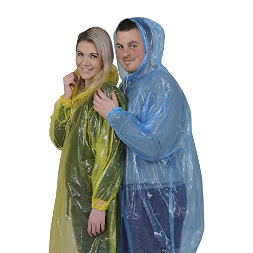 Rain Ponchos for Adults with Long Sleeves, Hood and Drawstring 8 Pieces • 4 Bright Colors • 2 Red • 2 Yellow • 2 Blue • 2 Green • One Size Fits All • Lightweight • in Case a Rainy Day