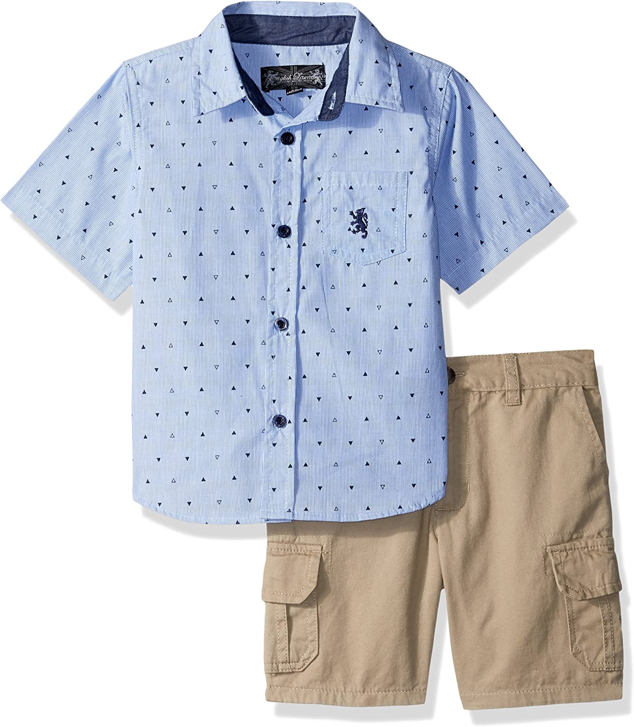 English Laundry Boys Sleeve Print Woven Shirt and Twill Cargo Short