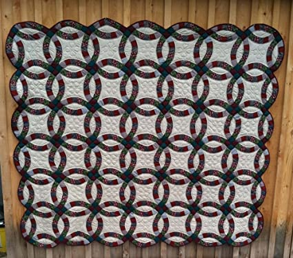 Amazoncom Handmade Amish Wedding Ring Queen Size Quilt Home Kitchen