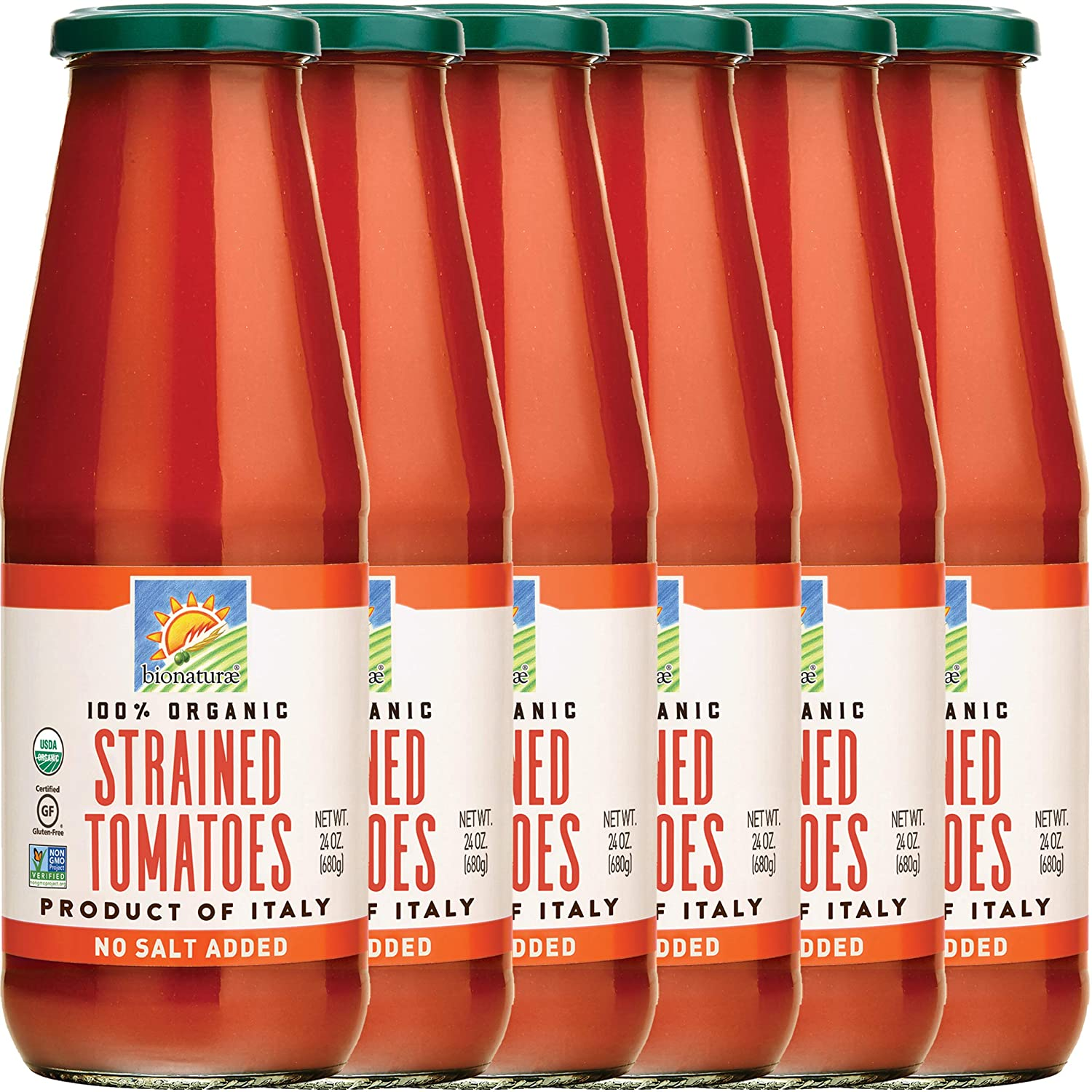 Bionaturae Tomatoes Strained | Organic Strained Tomatoes | Keto Friendly | Non-GMO | USDA Certified Organic | No Added Sugar | No Added Salt | Made in Italy | 24 oz (6 Pack)