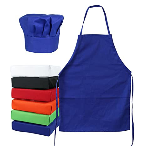 100% genuine really comfortable professional sale Kid's Chef Hat Apron Set - Kitchen Cooking Baking Kit Size (S 2-5 Year,  Blue)