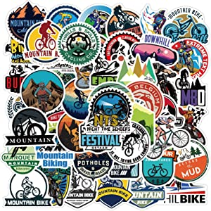 Outdoor Mountain Bike Stickers 50 Pack Waterproof Decals for Scrapbooking Journaling Laptop Phone Case Water Bottle Home Decor (Mountain Bike)