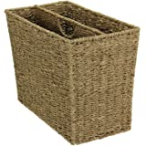 Household Essentials Woven Seagrass Side-by-Side Magazine Rack