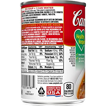 Campbells Condensed Healthy Request Vegetable Beef Soup, 10.5 oz. Can