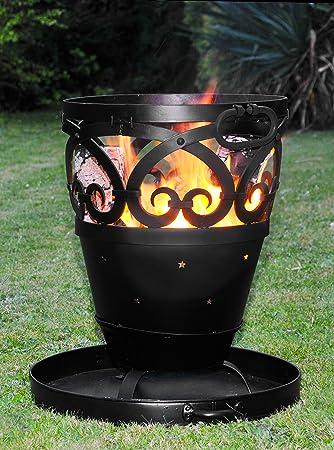 Estrellas & Scrolls diseño hierro forjado quemador de leña/barbacoa/Fire Pit incluye bandeja