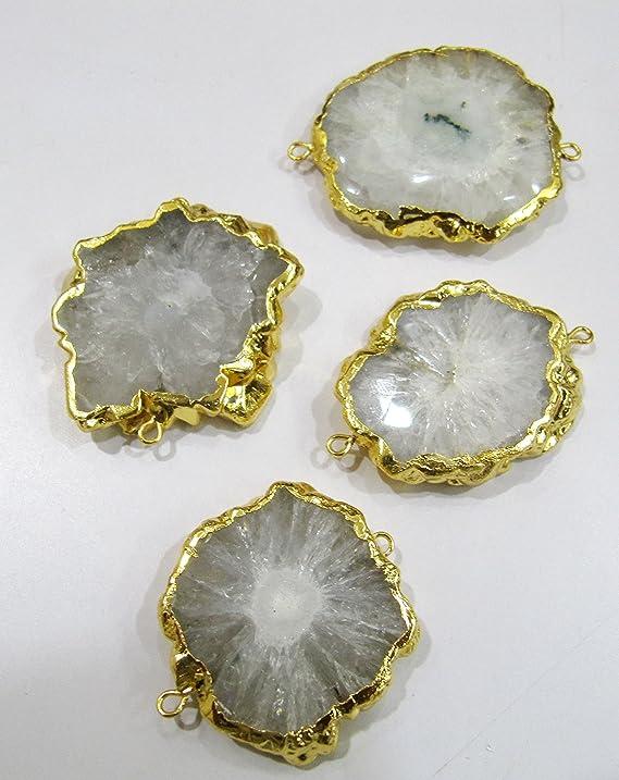 GP18091203 Sun Flower Shape Black Crystal Quartz Stalactite Slice Connector Charms Double Bails Druzy Quartz Gold Plated Pendants