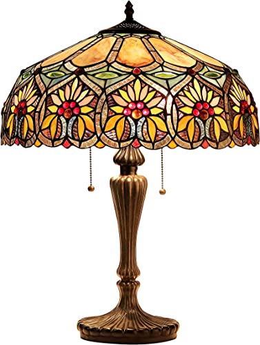 Chloe Lighting CH18648-SPC-DT3 Tiffany-Style 3-Light Double Lit Table Lamp with Shade, 26 x 18 x 18 , Bronze base