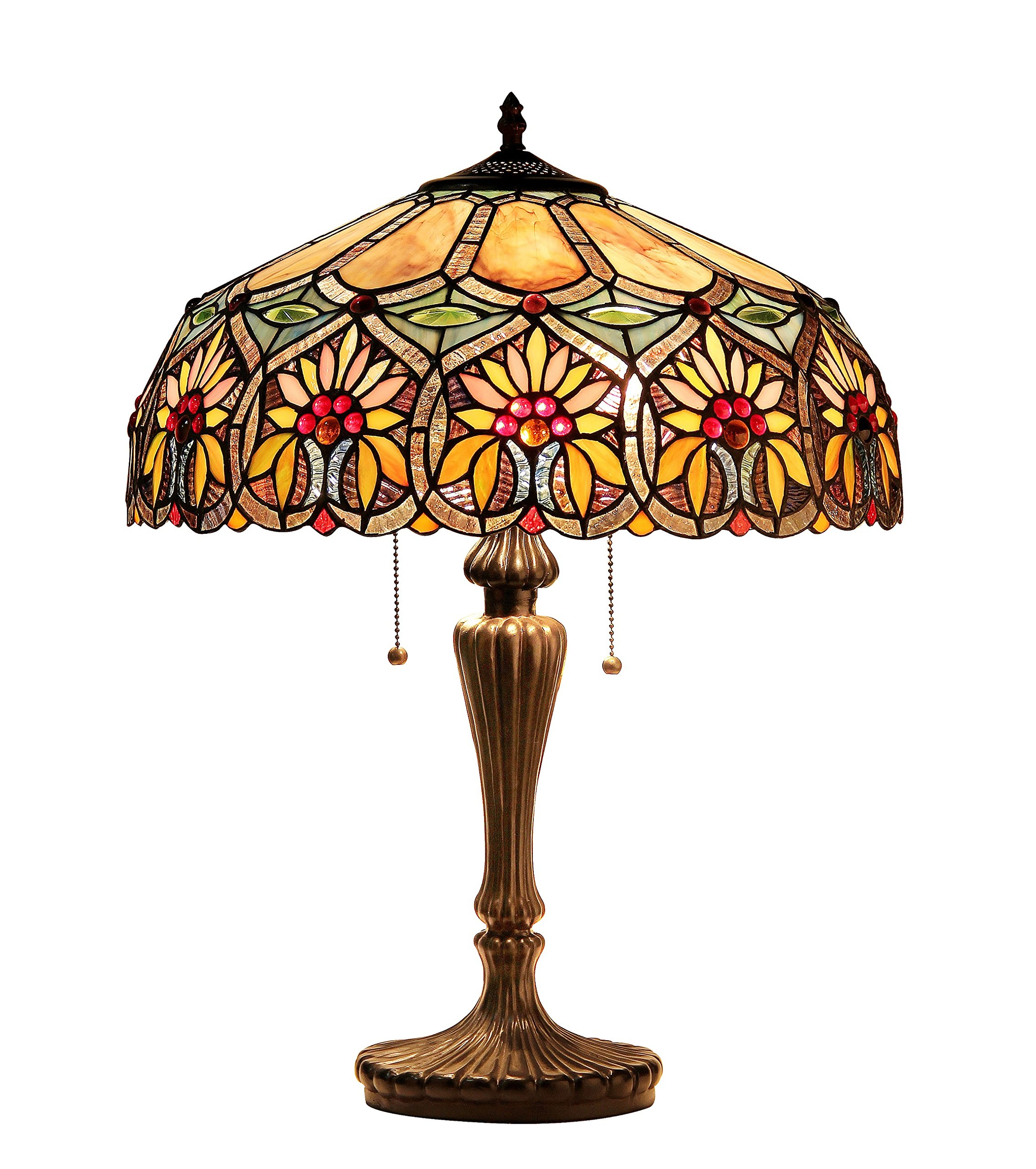 """Chloe Lighting CH33453BF18-TL2 Sunny Tiffany-Style Floral 2-Light Table Lamp, 24.6 x 17.7 x 17.7"""", Multicolor"""