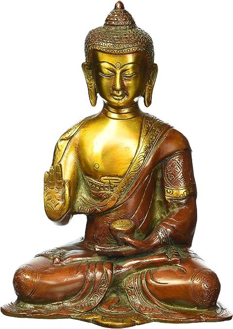 Figura De Buda De 8 Pulgadas Rara Con Amuleto Grande Budismo Tibetano Tibetano Chino De Latón Tallado Escultura Tailandesa Decoración De Yin Home Kitchen