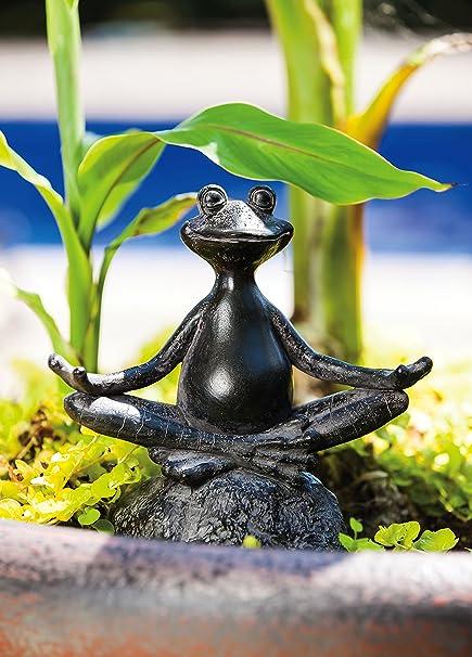New Creative Sitting Yoga Frog Polystone Outdoor Statue   6.75u201dW X 3.25u201dD