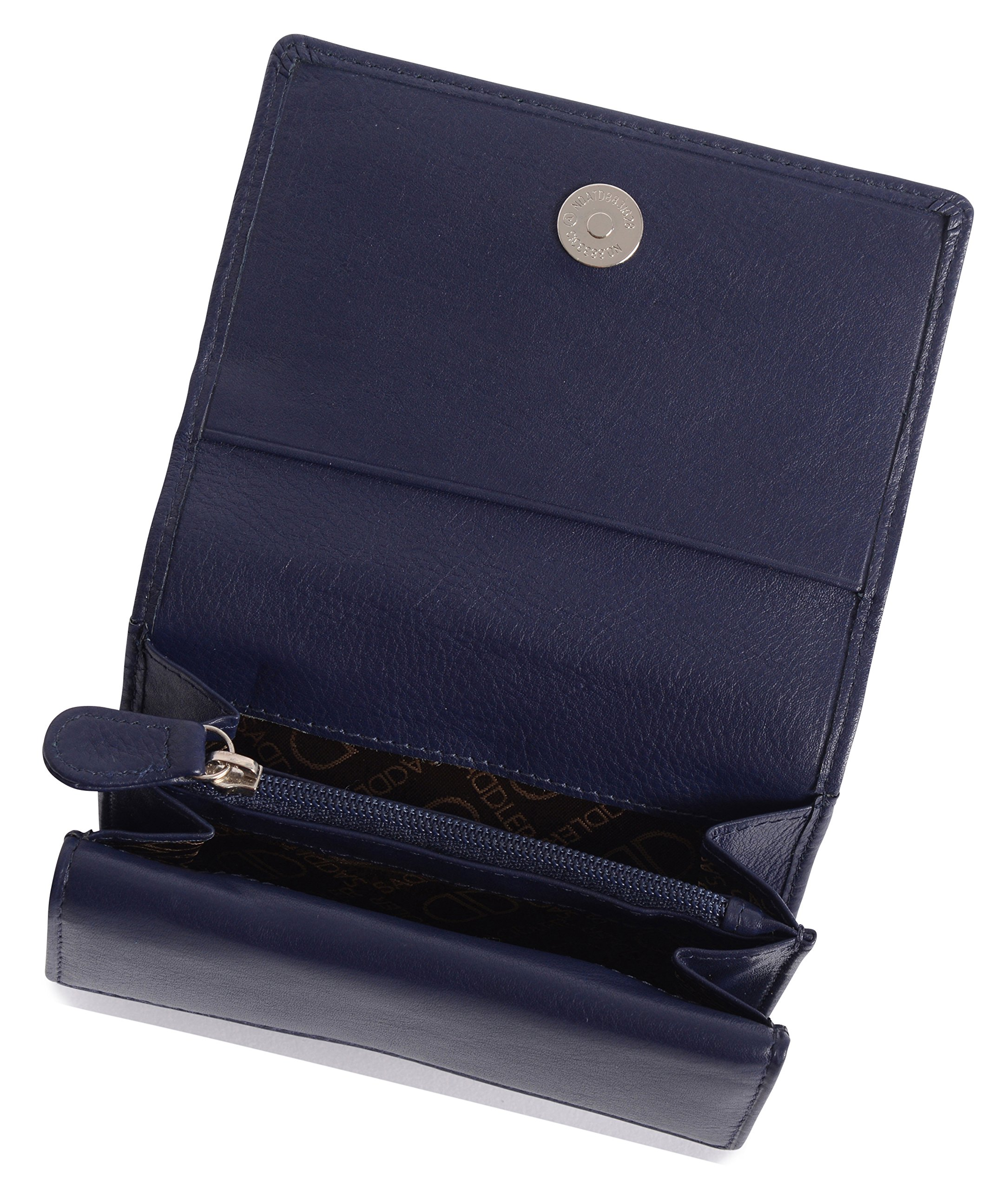 SADDLER Womens Leather Double Flap Coin Purse Trifold Wallet - Peacoat Blue by Saddler (Image #4)