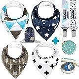 Dodo Babies Baby Bandana Drool Bib Set - 4pc Infant Bibs with 2 Pacifier Clips, Binky Case, Gift-Ready Bag - Soft…