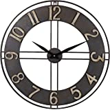 23.6-Inch Oversized Rustic Vintage Metal Silent Non-Ticking Battery Operated Decorative Wall Clock
