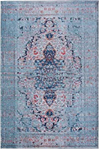 Mylife Rugs Traditional Vintage Non Slip Machine Washable Distressed Printed Area Rug, Blue Red 5'x7'