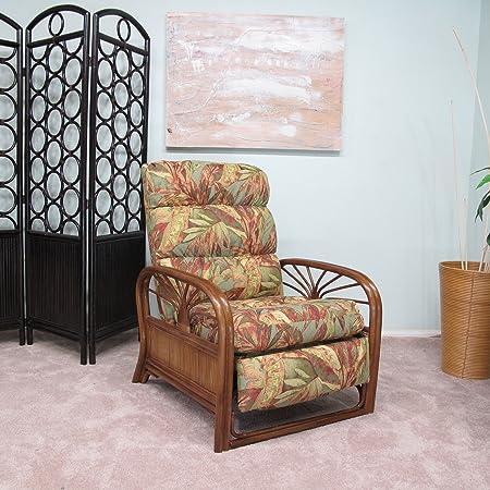 Urban Design Furnishings Sundance Rattan Recliner Chair Made in USA Assembled Regal Fabric Prestige June