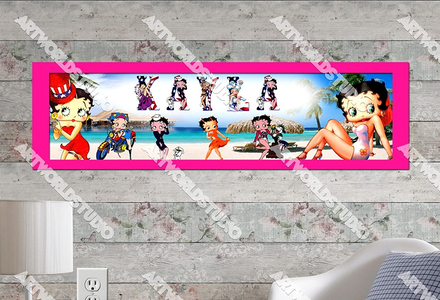 """Betty Boop Poster 30/"""" x 8.5/"""" Personalized Custom Name Painting Printing"""