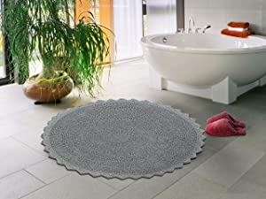 """Sheen Decor 100% Pure Cotton Luxurious Feel Bathroom Mat/Rugs, Extra Absorbent & Soft Perfect Plush Round Rugs for Living room Bedroom-24"""", Grey"""