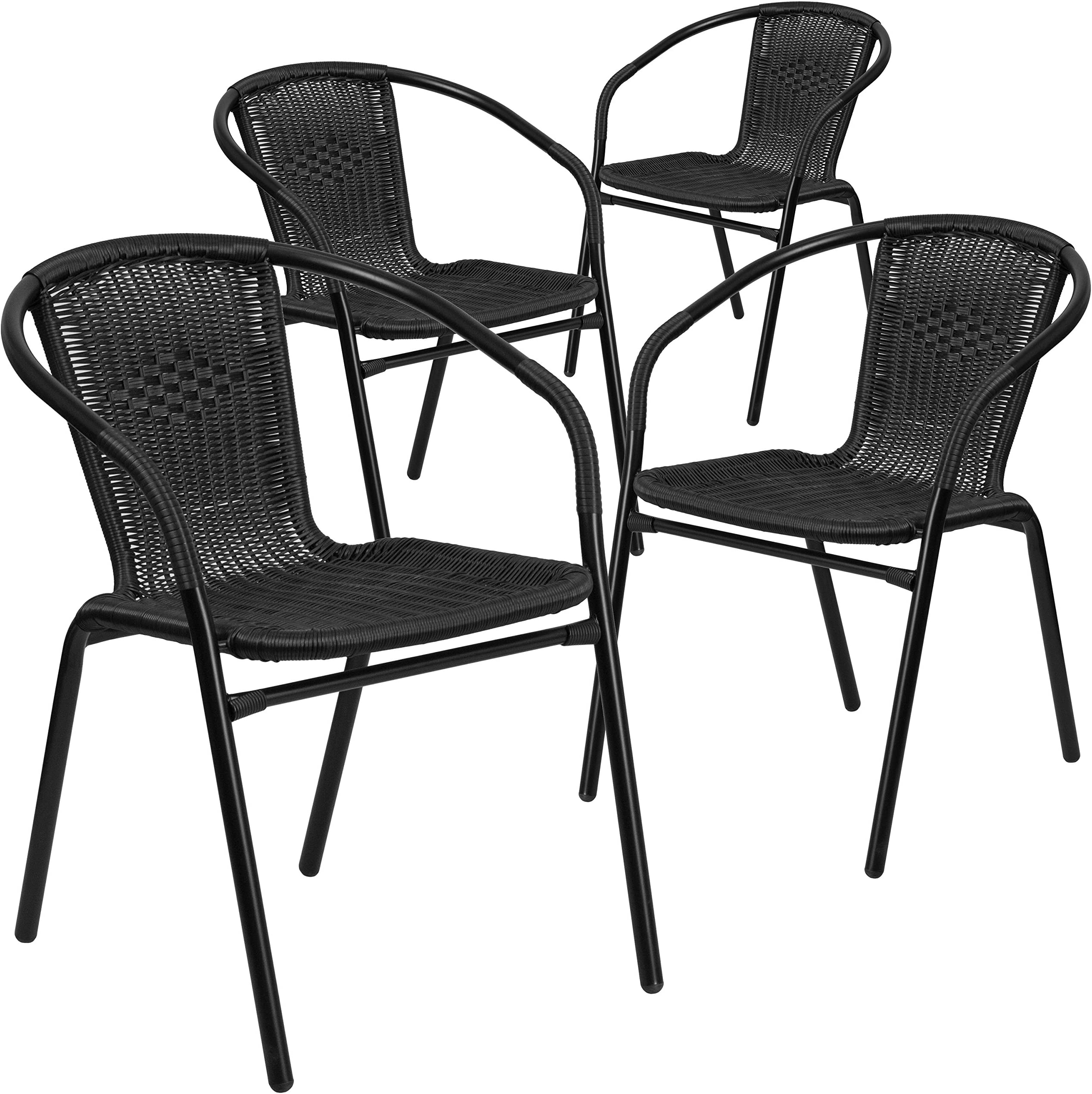 Flash Furniture 4 Pk. Rattan Indoor-Outdoor Restaurant Stack Chair  sc 1 st  Amazon.com & Patio Dining Chairs | Amazon.com
