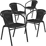 4 Pk. Black Rattan Indoor-Outdoor Restaurant Stack Chair