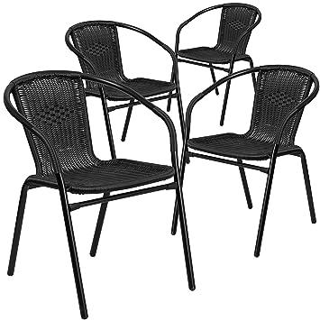 Perfect Flash Furniture 4 Pk. Black Rattan Indoor Outdoor Restaurant Stack Chair