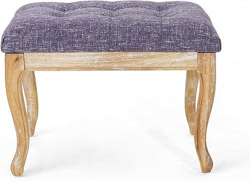 Christopher Knight Home Temorah Traditional Fabric Ottoman, Purple Tweed