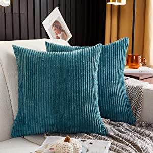 MERNETTE Pack of 2, Corduroy Soft Decorative Square Throw Pillow Cover Cushion Covers Pillowcase, Home Decor Decorations for Sofa Couch Bed Chair 20x20 Inch/50x50 cm (Striped Peacock)