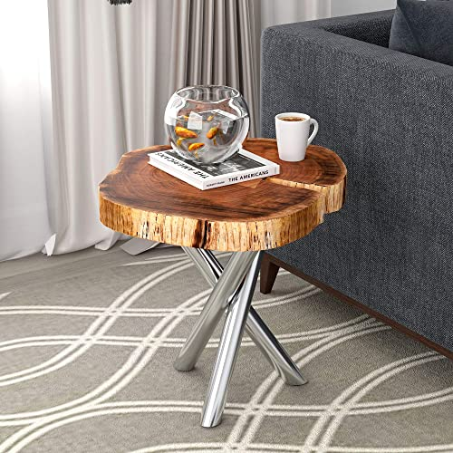 Whi Solid Wood Live Edge Accent - the best living room table for the money