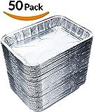 "DOBI (50-Pack) Weber Grills Compatible Drip Pans, Bulk Package, Aluminum Foil BBQ Grease Pans, 7.5"" x 5"""