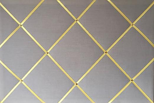 Grande 60 x 40 cm gris algodón con lazo amarillo hecho a mano tela ...