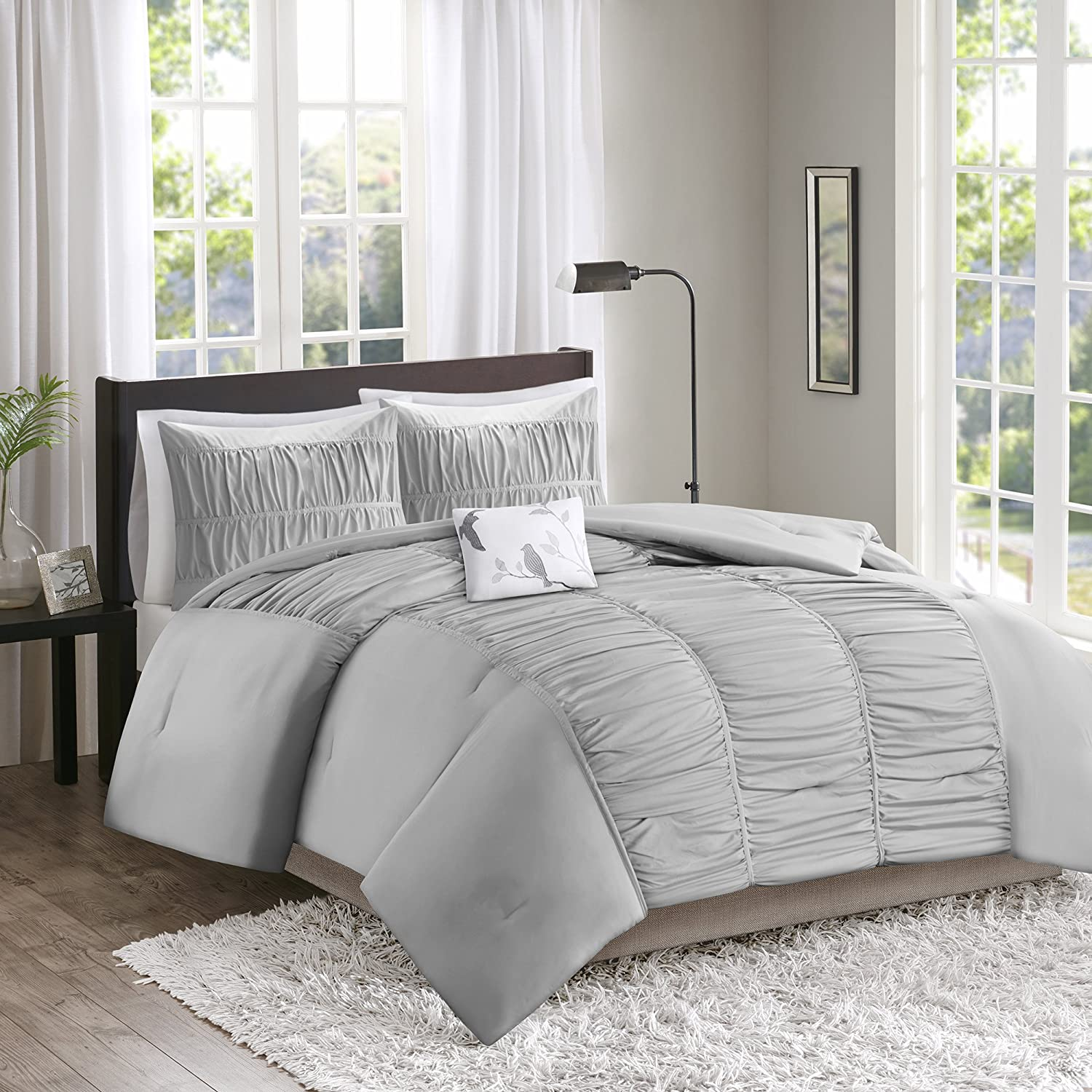 Comfort Spaces – Montana Comforter Set - 4 Piece – Gray – Ruched Pattern – Full/Queen
