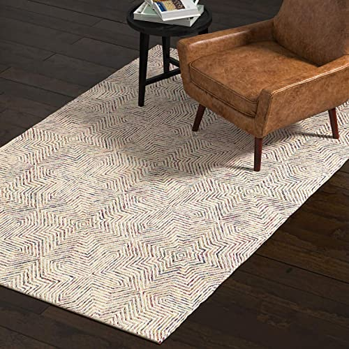 Rivet Geometric Wool Area Rug, 5 x 8, Ivory, Red, Purple