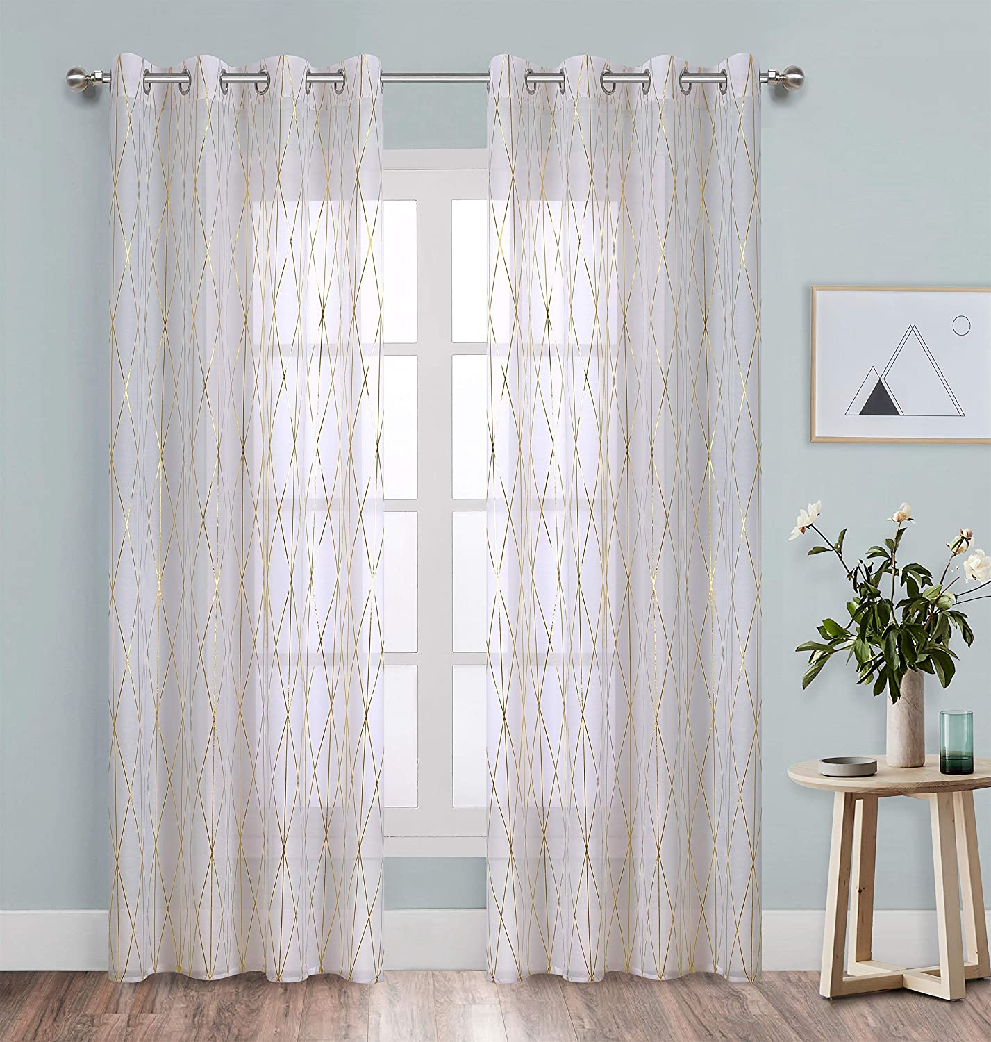 Sheer Curtains 84 inch Long White Voile with Gold Geometric line Foil Print Perfect for Nursey / Kid's Bedroom Eeylet 2 Pieces