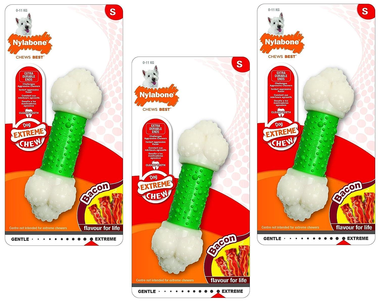 (3 Pack) Nylabone Dura Chew Bacon Flavored Double Action Chew Bones- Size Regular