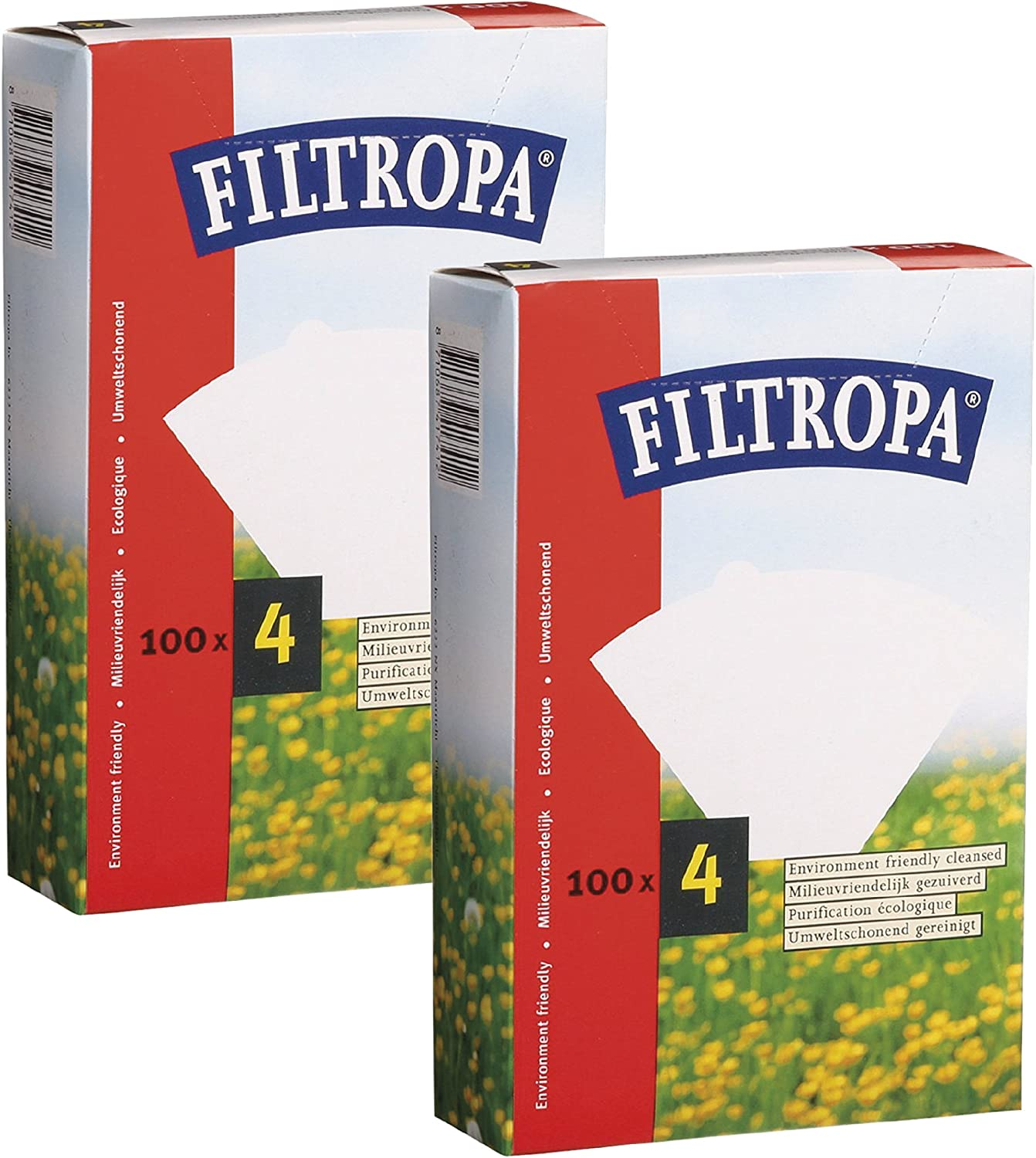 Filtropa 8640/2 Paper Coffee 4-200 Count, No. No. 4 Filter, Set of 2, White