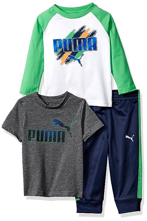 c0f511e70ba3 PUMA Baby Boys Three Piece T-Shirt and Pant Set  Amazon.in  Baby