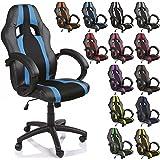 TRESKO® Chaise Fauteuil siège de bureau racing sport rayé ergonomique inclinable accoudoirs rembourrés, de 14 couleurs différentes, Lift SGS contrôlé (noir/bleu clair)