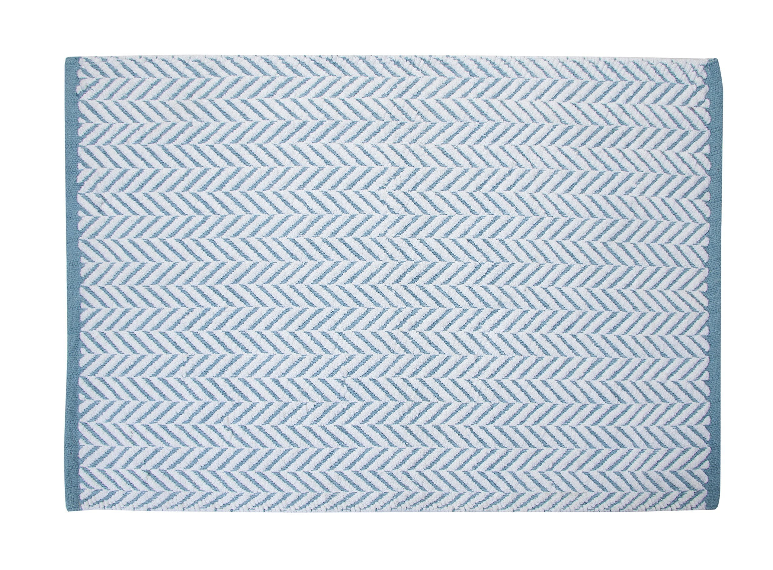 Bath Rug - Saffron Fabs 100% Cotton, tufted 50x30 Inches, Color White and Blue, GSF 145, Pattern Camridge