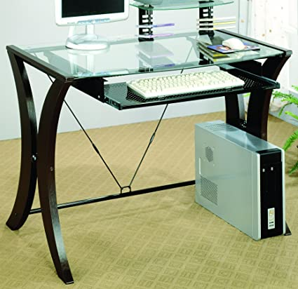 Attrayant Coaster 800445 Division Table Desk With Glass Top, Cappuccino