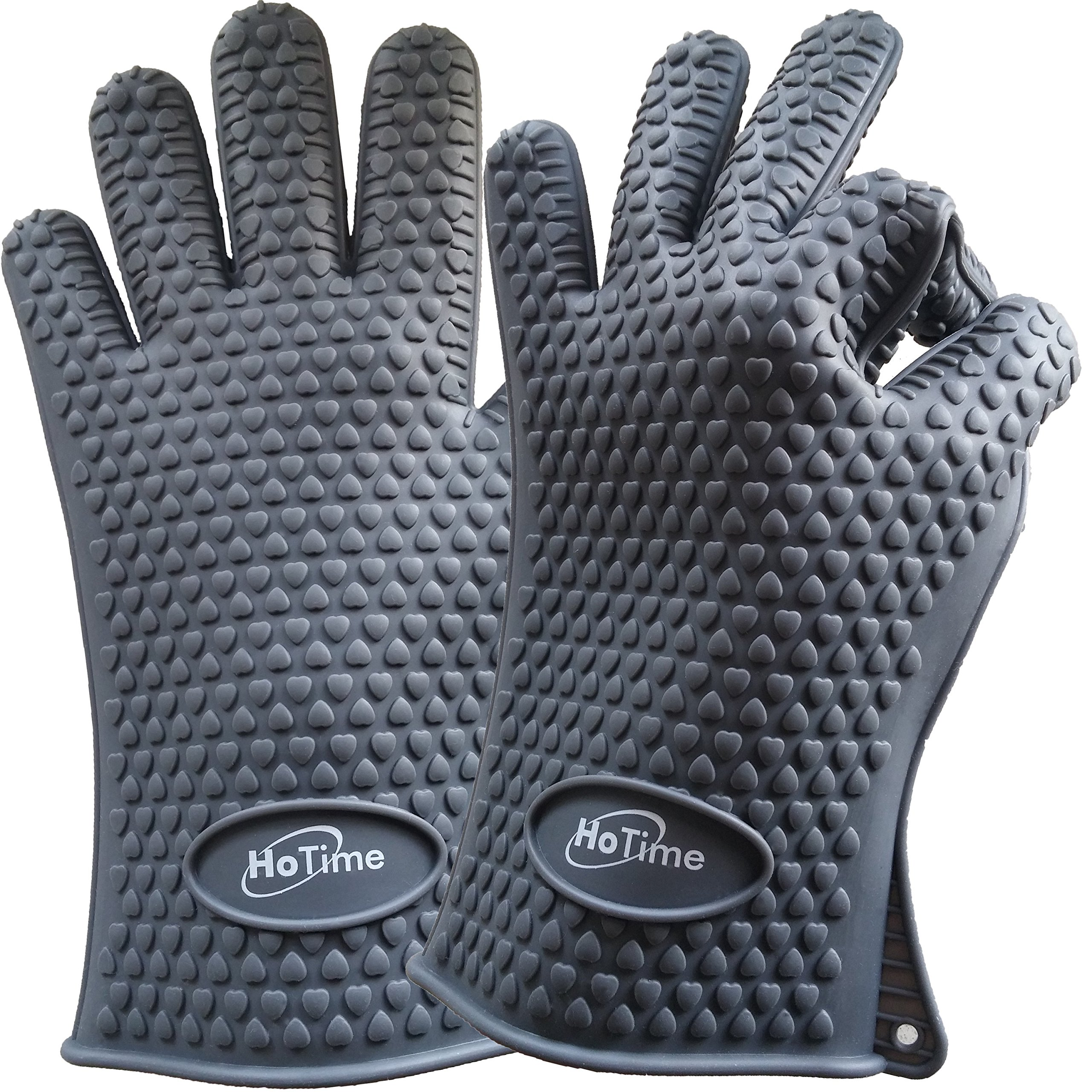 HoTime Silicone Cooking Gloves & Heat Resistant Gloves - Ideal For Cooking, BBQ, Baking, Grilling, and Oven Mitts - (Lifetime Replacement) & {Special Bonuses - Pot Holder and Two Ebooks} (Gray)