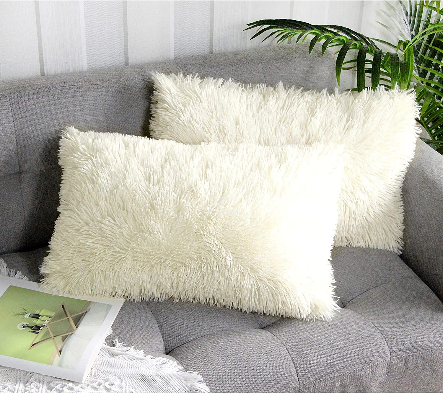 White 30x50 Cm 12 20 Uhomy Single Pack Home Decorative Super Soft Luxury Series Plush Faux Fur Throw Pillow Cover Cushion Case For Sofa Bed Decorative Pillows Inserts Covers Kolenik Throw Pillow