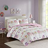 Comfort Spaces Howdy Hoots Kids Bedspread Mini Quilt Set - 2 Piece - Pink White - Teens/Girls - Owl Print - Twin Size, includes 1 Quilt, 1 Sham