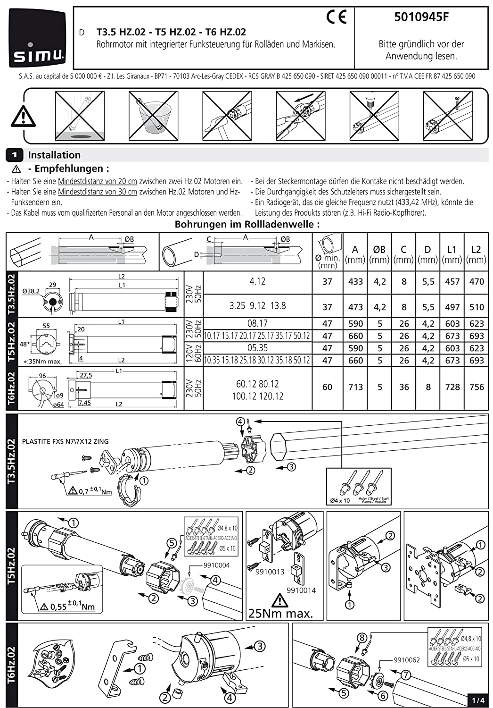 Simu Rolladenmotor Rohrmotor T5-10//17 DMI 10Nm SW60 25KG Nothandkurbel f/ür Rollladen Jalousie und Rolltor