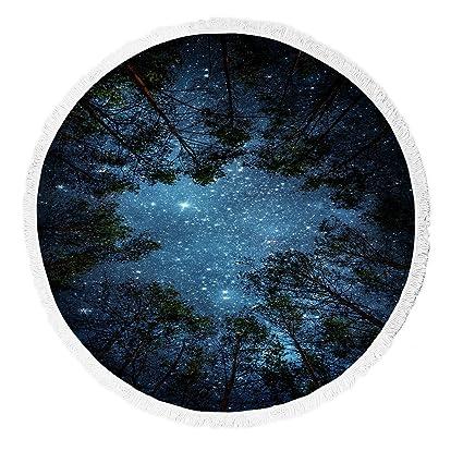 Custom Beautiful Night Sky Beach Towel The Milky Way And Trees