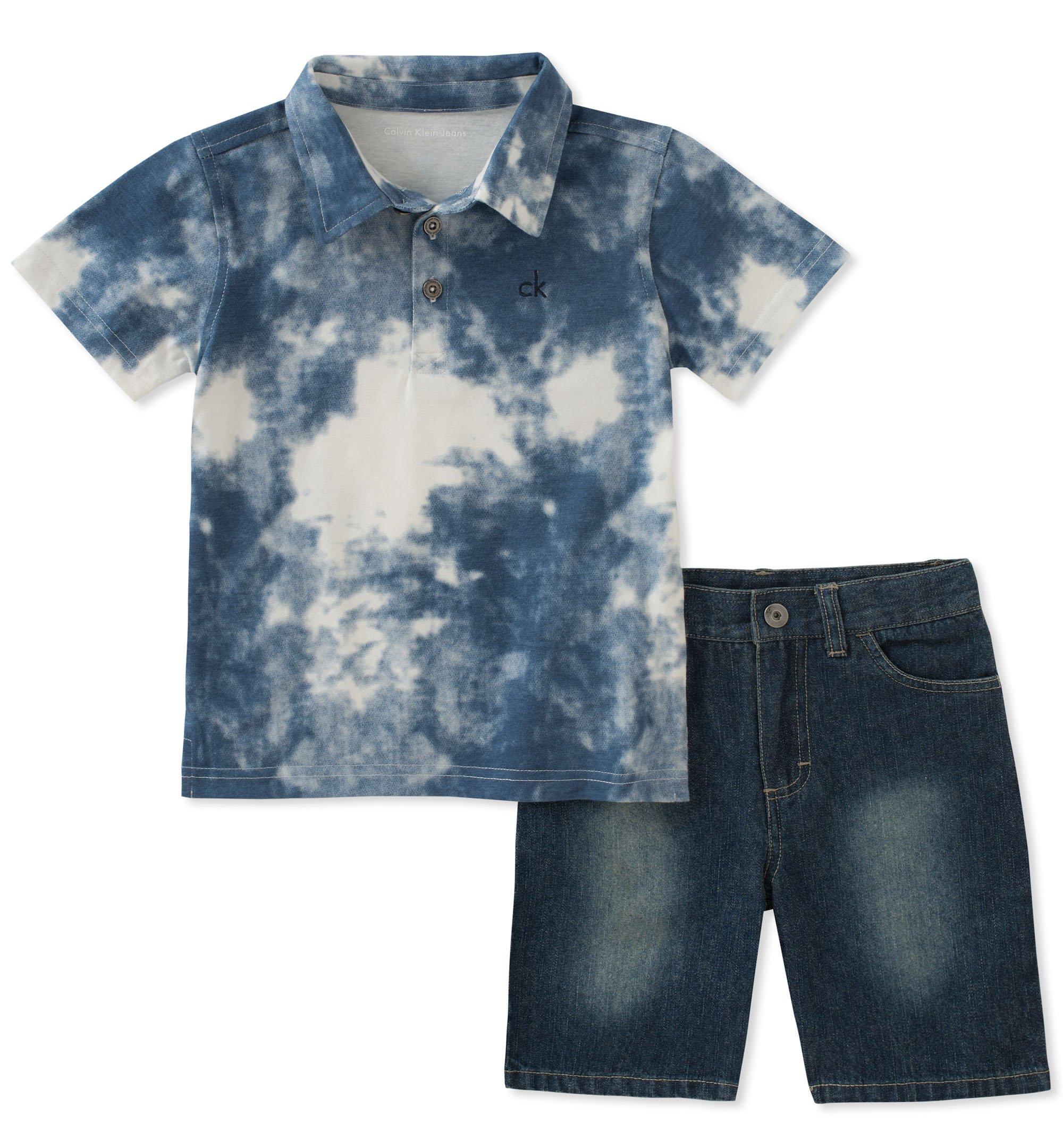 a6318de96 Galleon - Calvin Klein Boys' Little 2 Pieces Polo Shorts Set, Heather Blue,  7