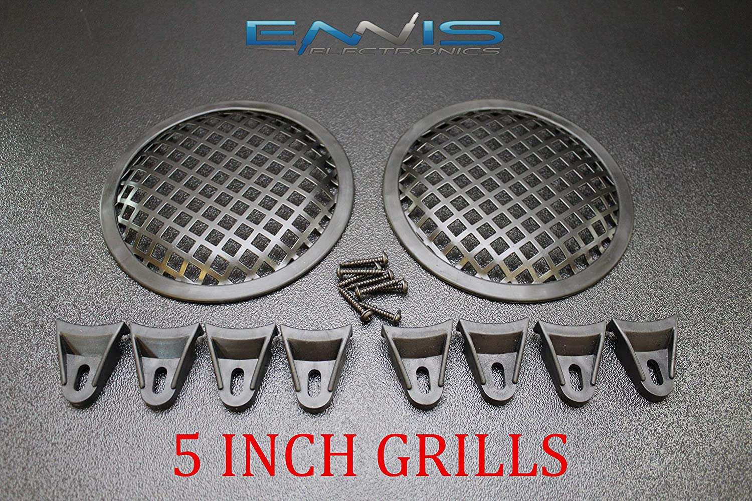 (2) 5 INCH Steel Speaker SUB SUBWOOFER Grill MESH Cover W/Clips Screws GR-5 91YOifBhqAL