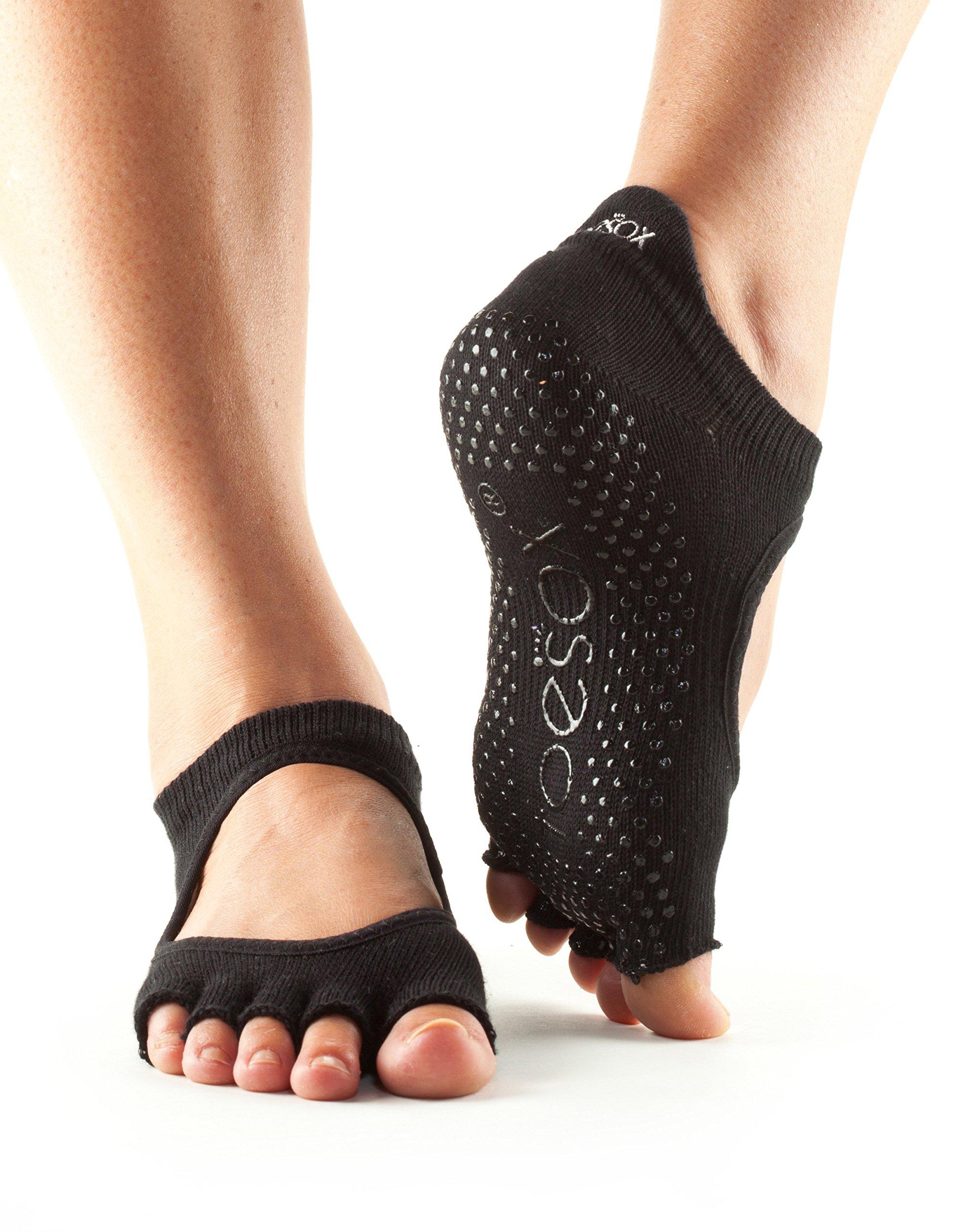 toesox Women's Bellarina Half Toe Grip Non-Slip for Ballet, Yoga, Pilates, Barre Toe Socks (Black) Small by toesox